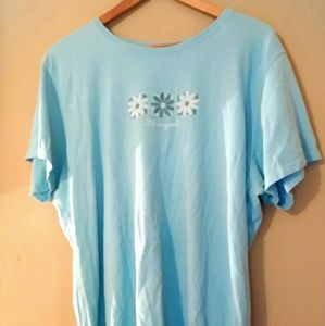 Life is Good t-shirt light blue flowers XXL
